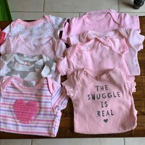 Lot of 20 girls onesies 0-3 months